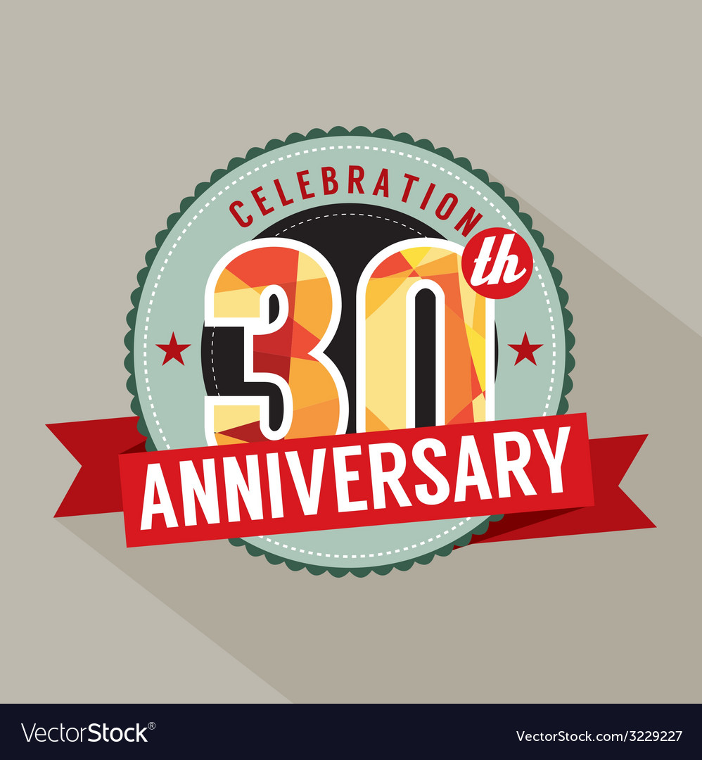 30th years anniversary celebration design vector