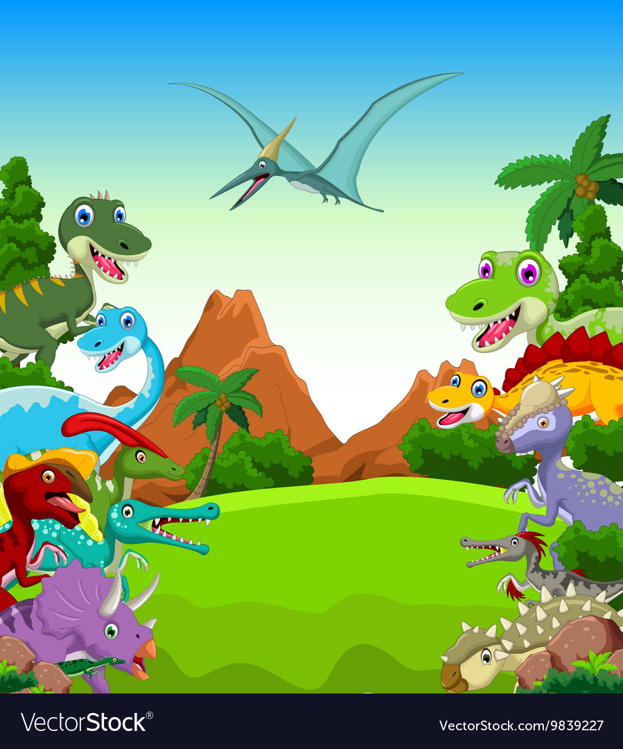 Dinosaur cartoon with landscape background vector