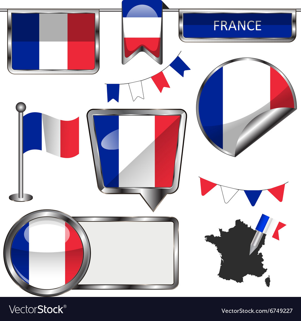 Glossy icons with french flag vector