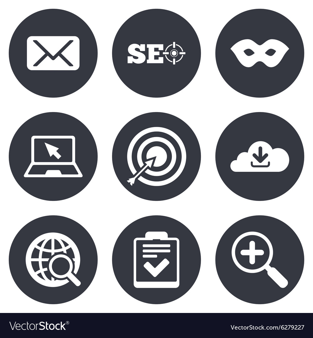 Internet seo icons checklist target signs vector