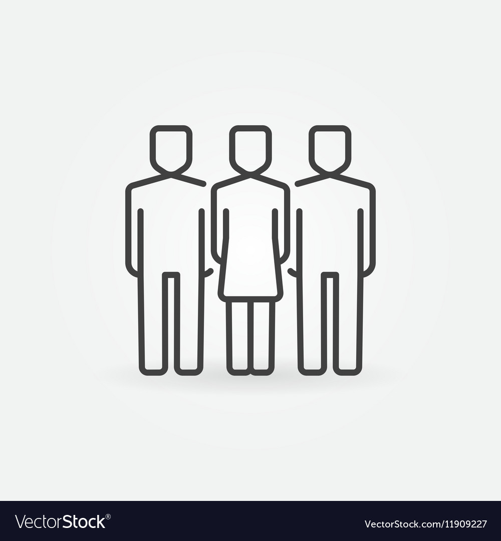 Woman with two men icon vector