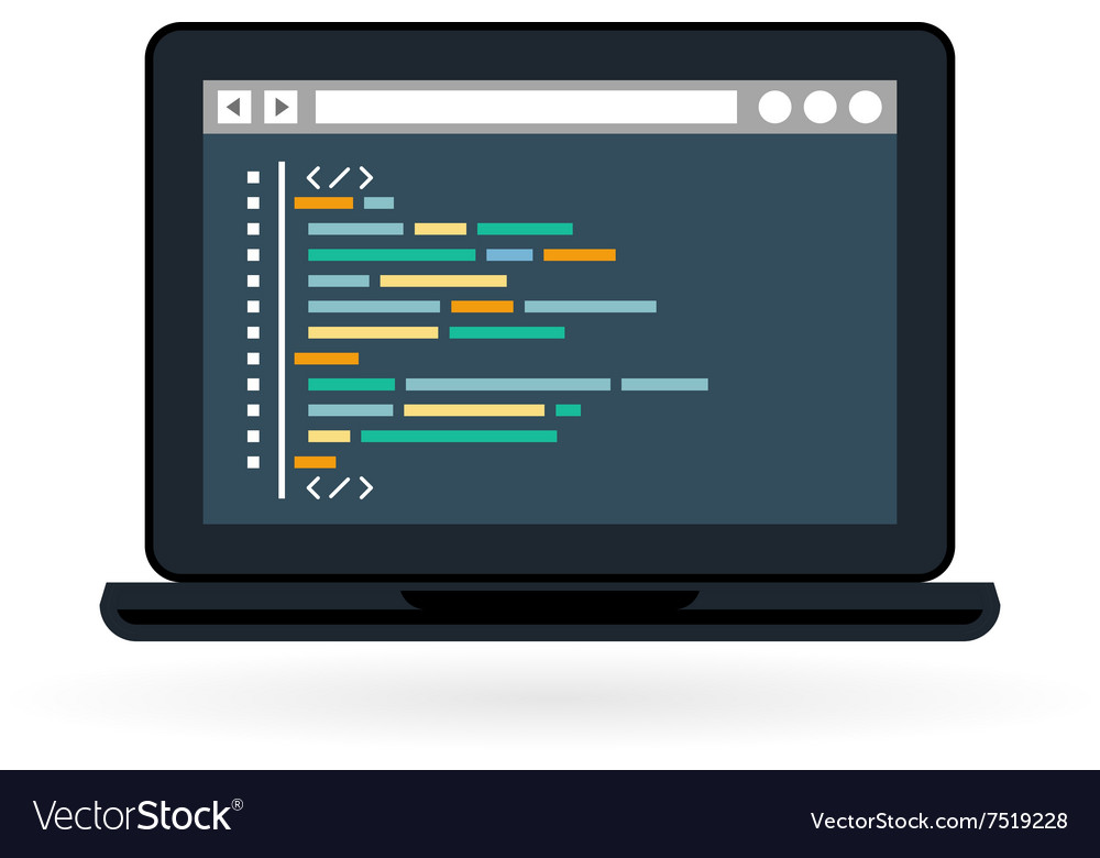 Programming and coding icon  laptop vector