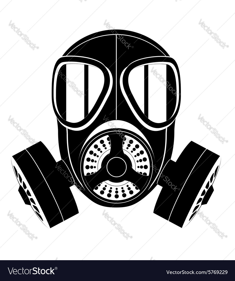 Gas mask black and white 03 vector