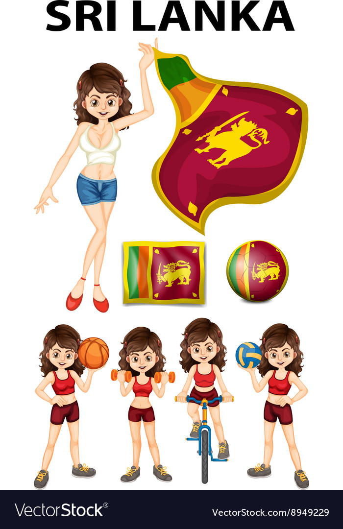 Sri lanka flag and woman athlete vector