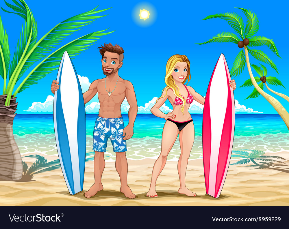 Two surfers on the beach vector