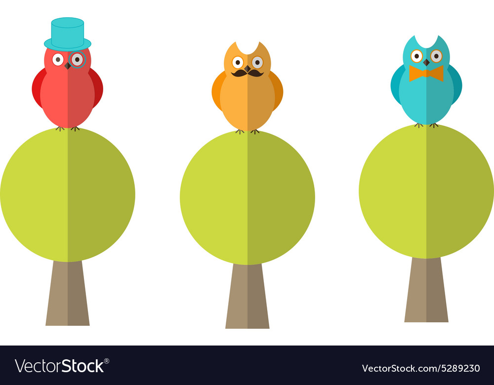 Flat of three owls sitting on trees vector
