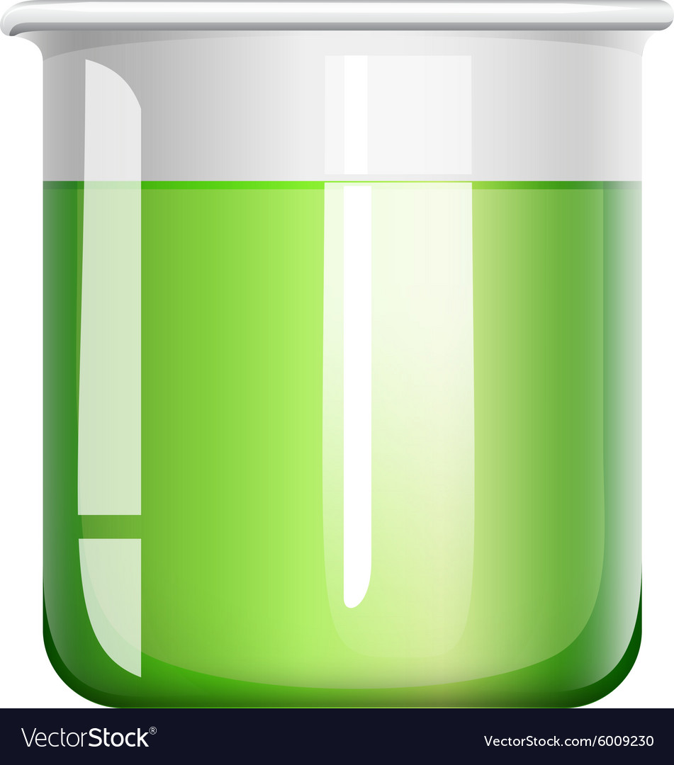 Green liquid in beaker vector