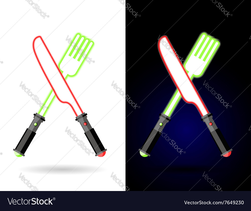 Lightsaber as cutlery shiny knife and fork vector