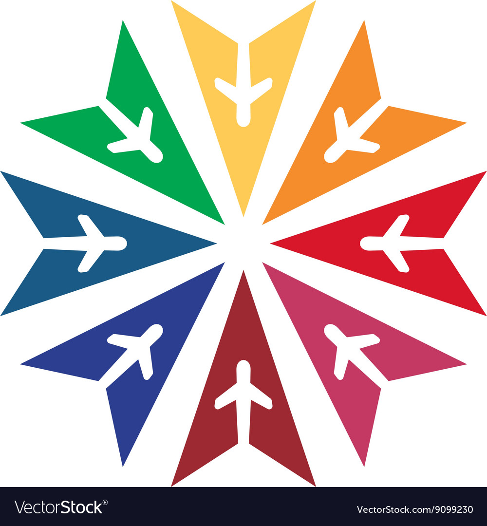 Logo star flit away travel plane vector
