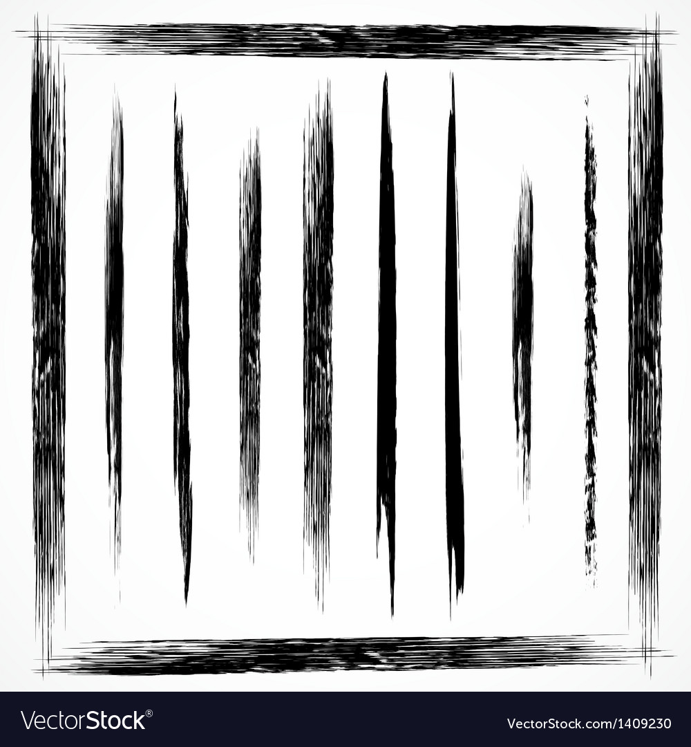 Set of grunge line brush strokes vector