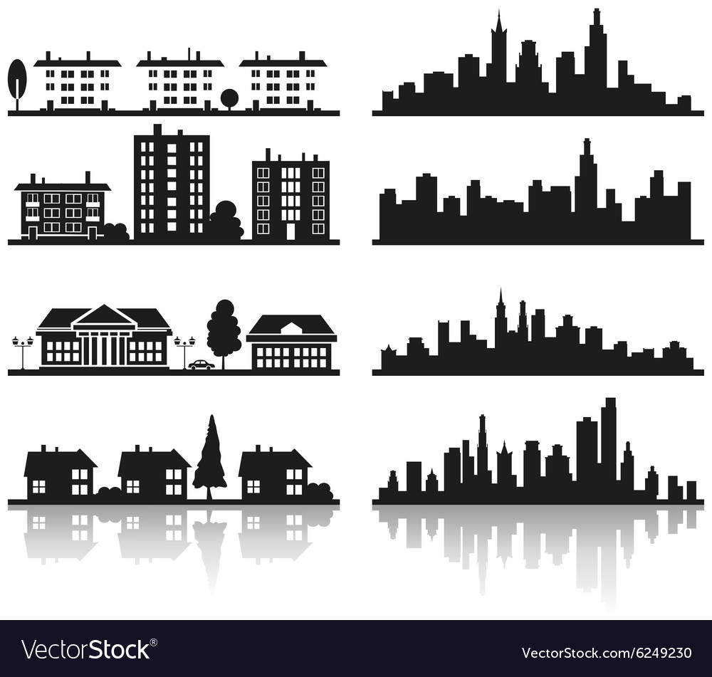 Silhouette of city vector