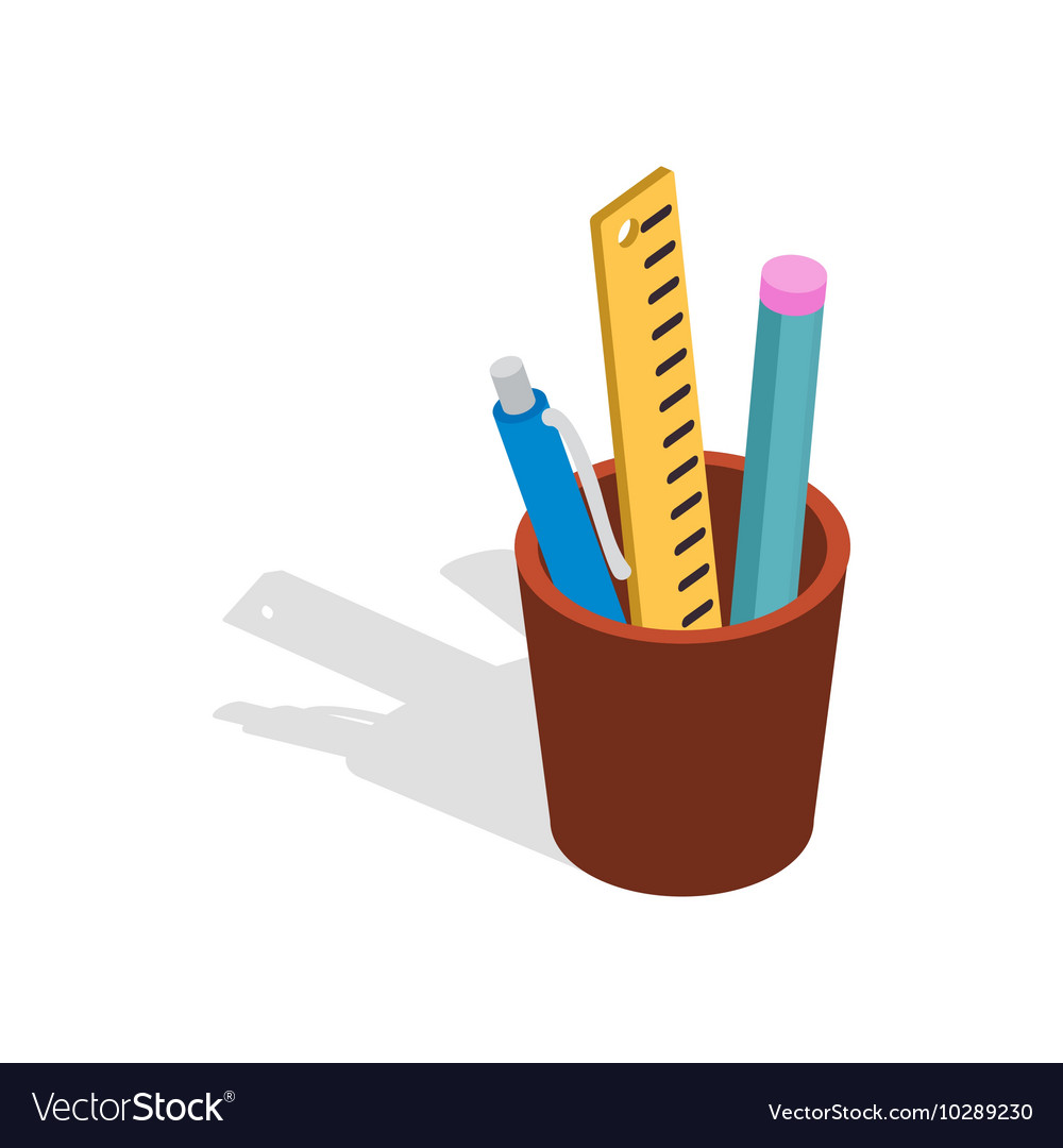 Stationery in brown cup icon isometric 3d style vector