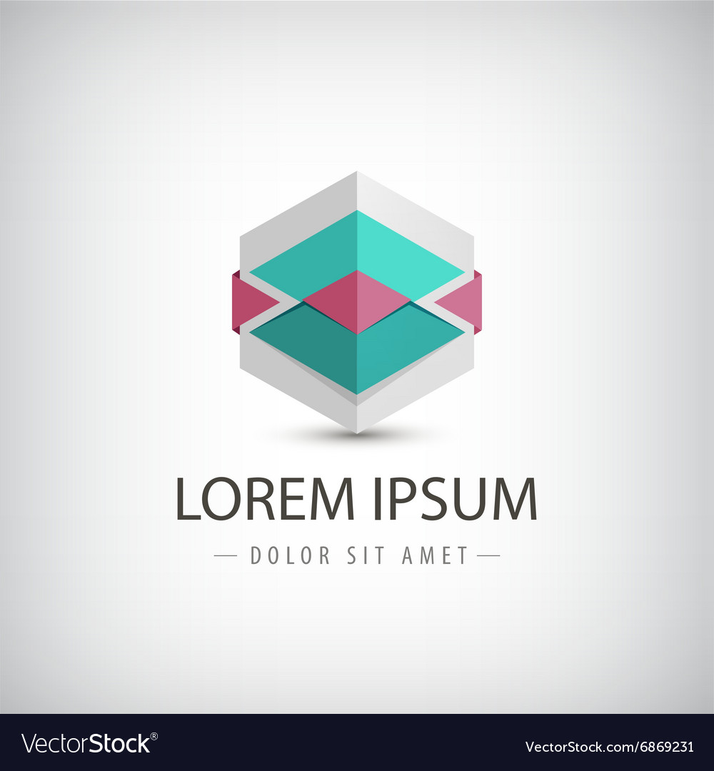 Abstract 3d origami logo icon isolated vector