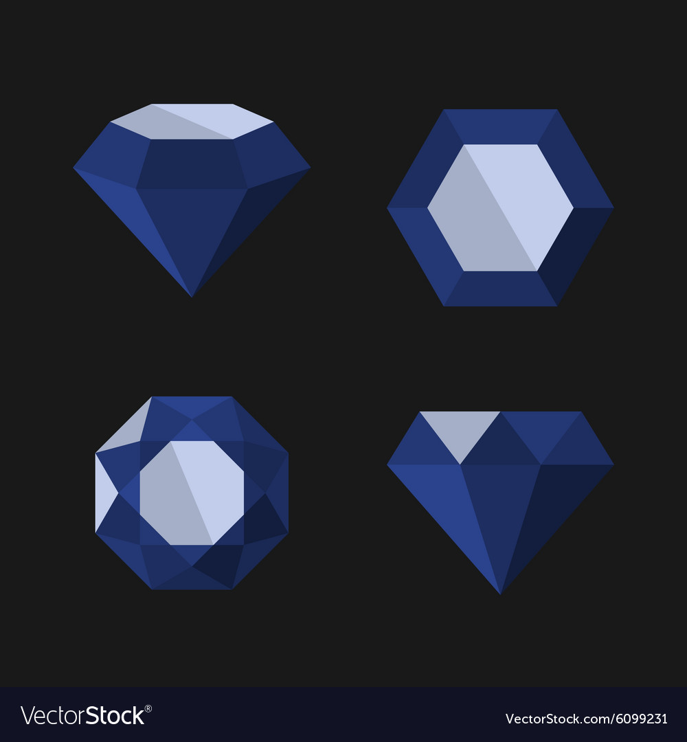 Dark blue diamond icons set vector