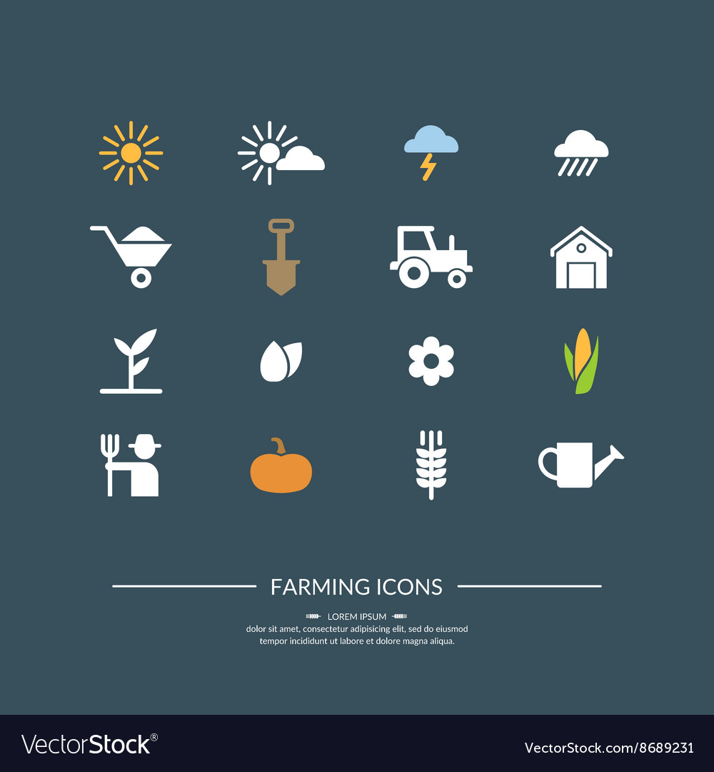 Harwest farming icons for design website vector