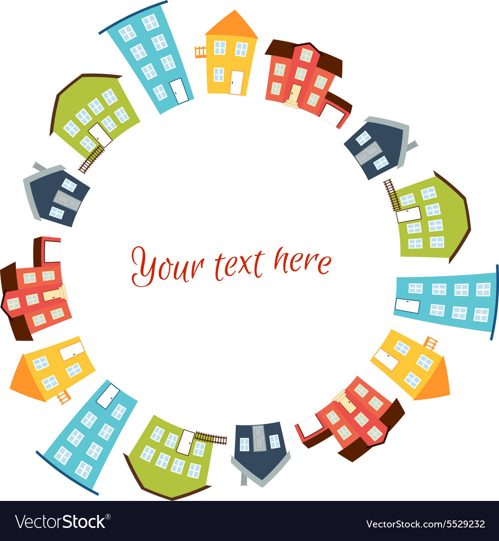 Circular frame of bright cute houses vector