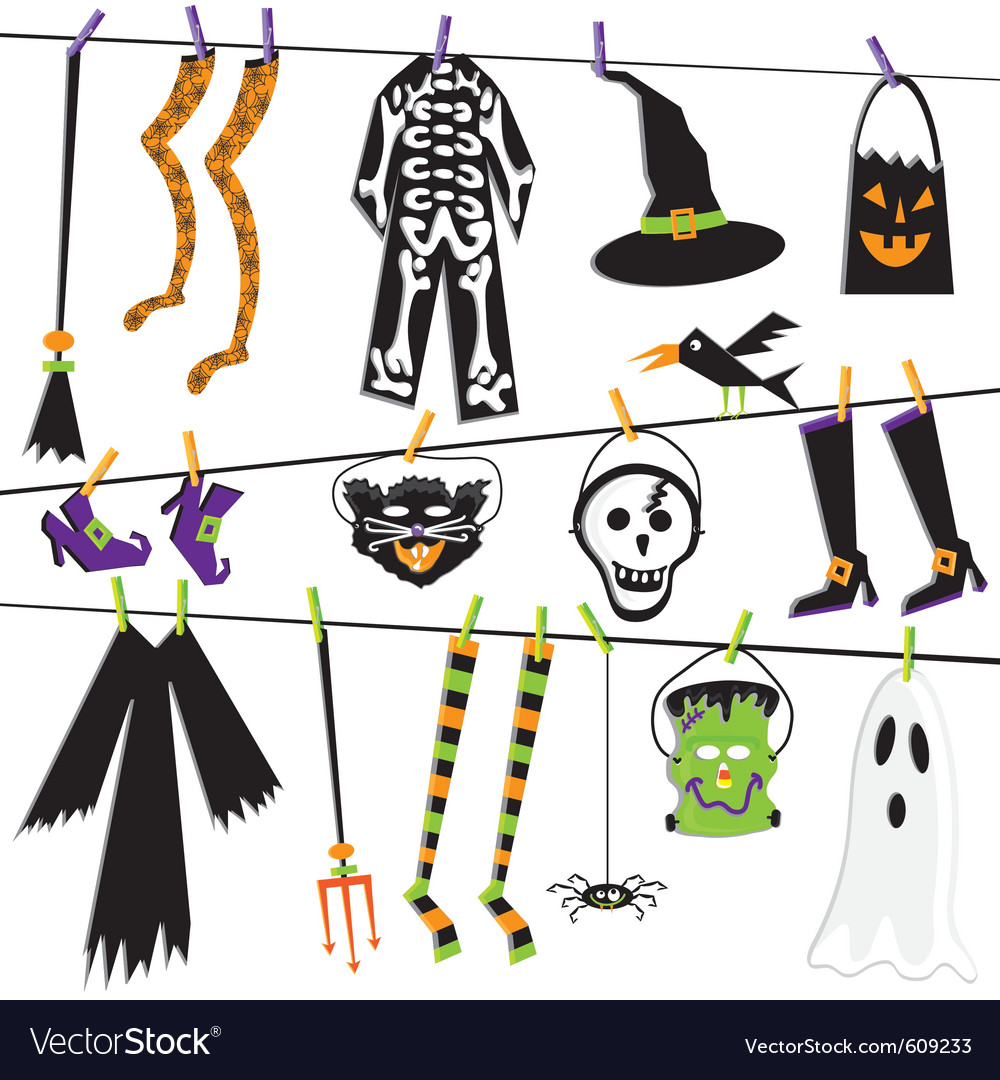 Halloween costume clothesline vector