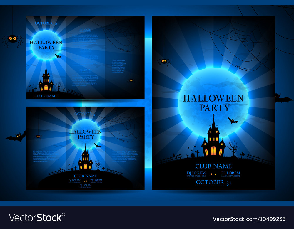 Set of flyers for halloween vector