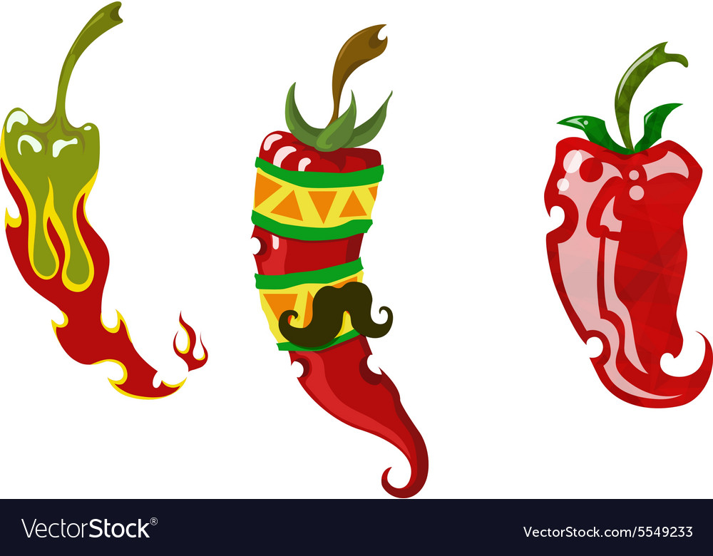 Set of three different chili peppers vector