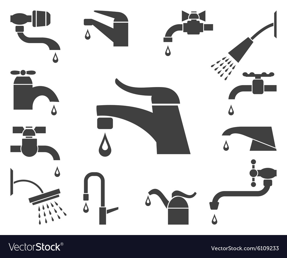 Set of water tap or faucet icons vector