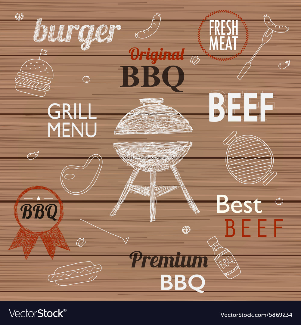 Barbecue grill icons and labels for any use on a vector