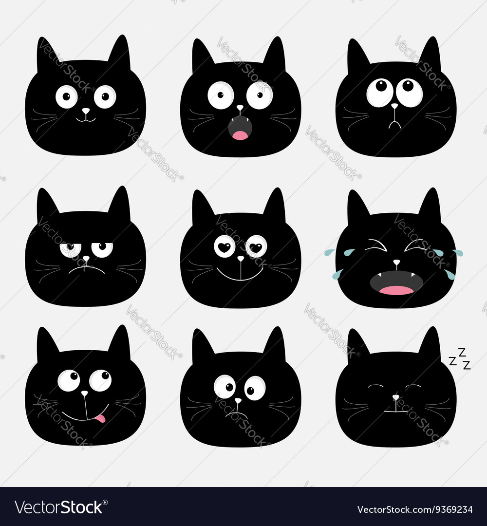 Cute black cat head set funny cartoon characters vector