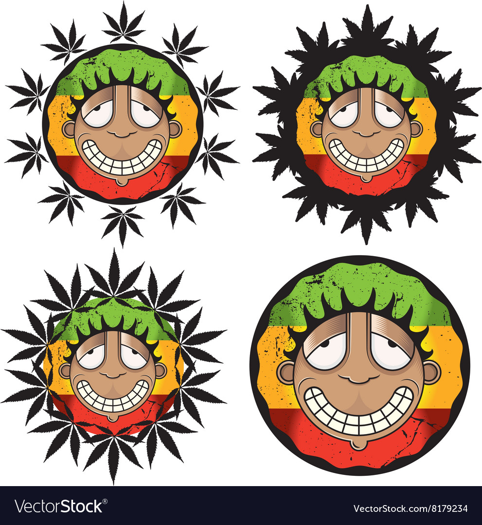 Smiling happy relaxed guy marijuana vector