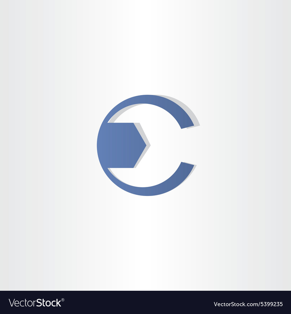 Mechanic key letter c symbol design vector