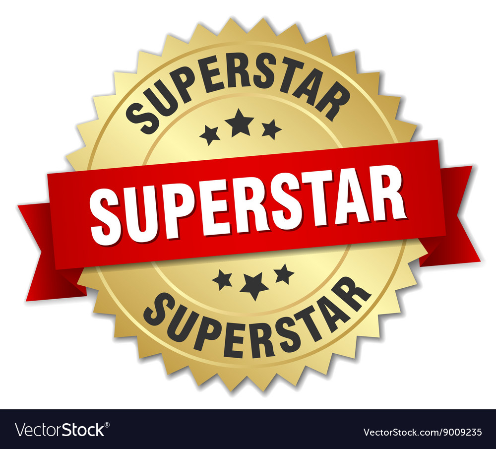 Superstar 3d gold badge with red ribbon vector