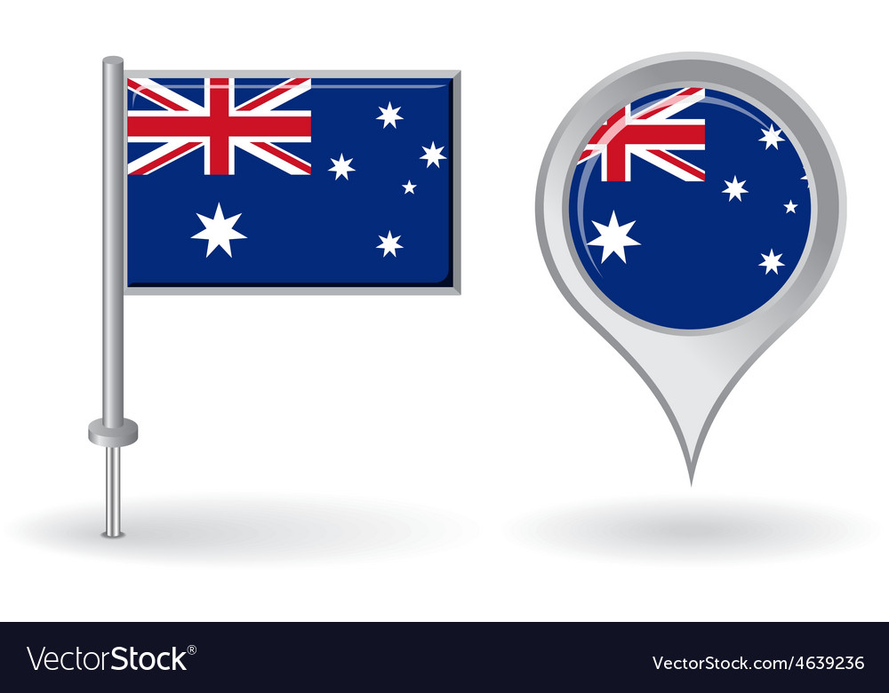 Australian pin icon and map pointer flag vector