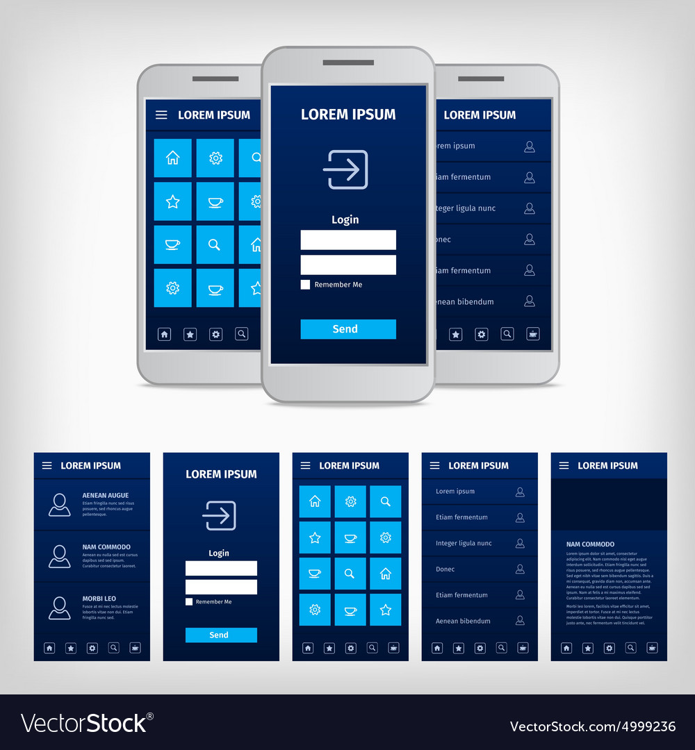 Conception of blue mobile user interface vector