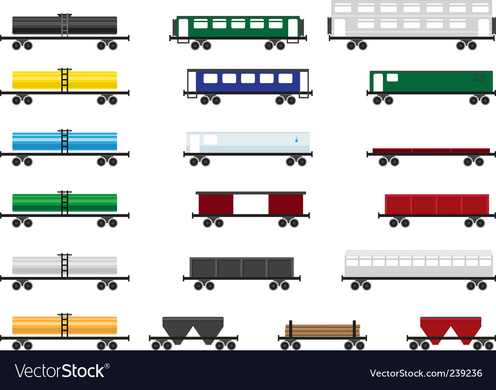 Railway cars vector