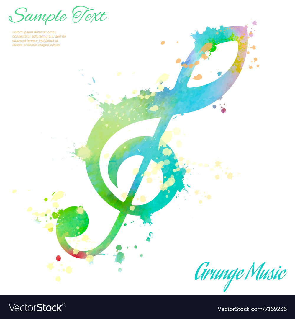 Treble clef watercolor vector