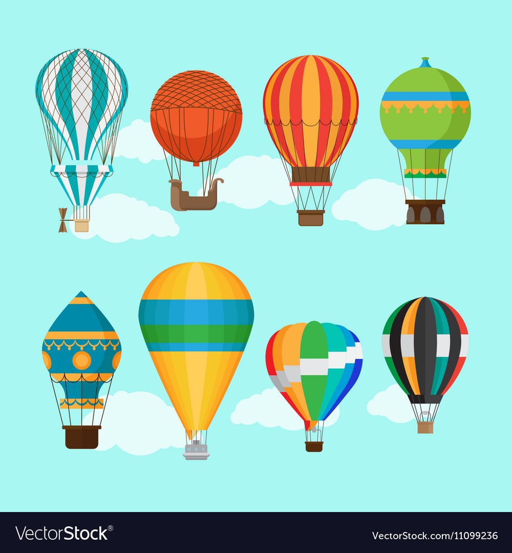 Vintage hot air balloons vector