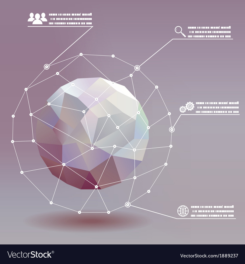 Geometric ball social networks infographics whith vector