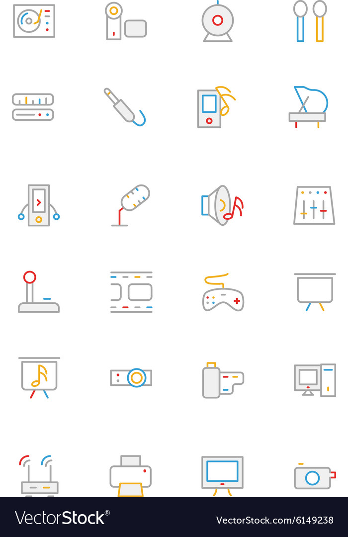 Music colored outline icons 4 vector