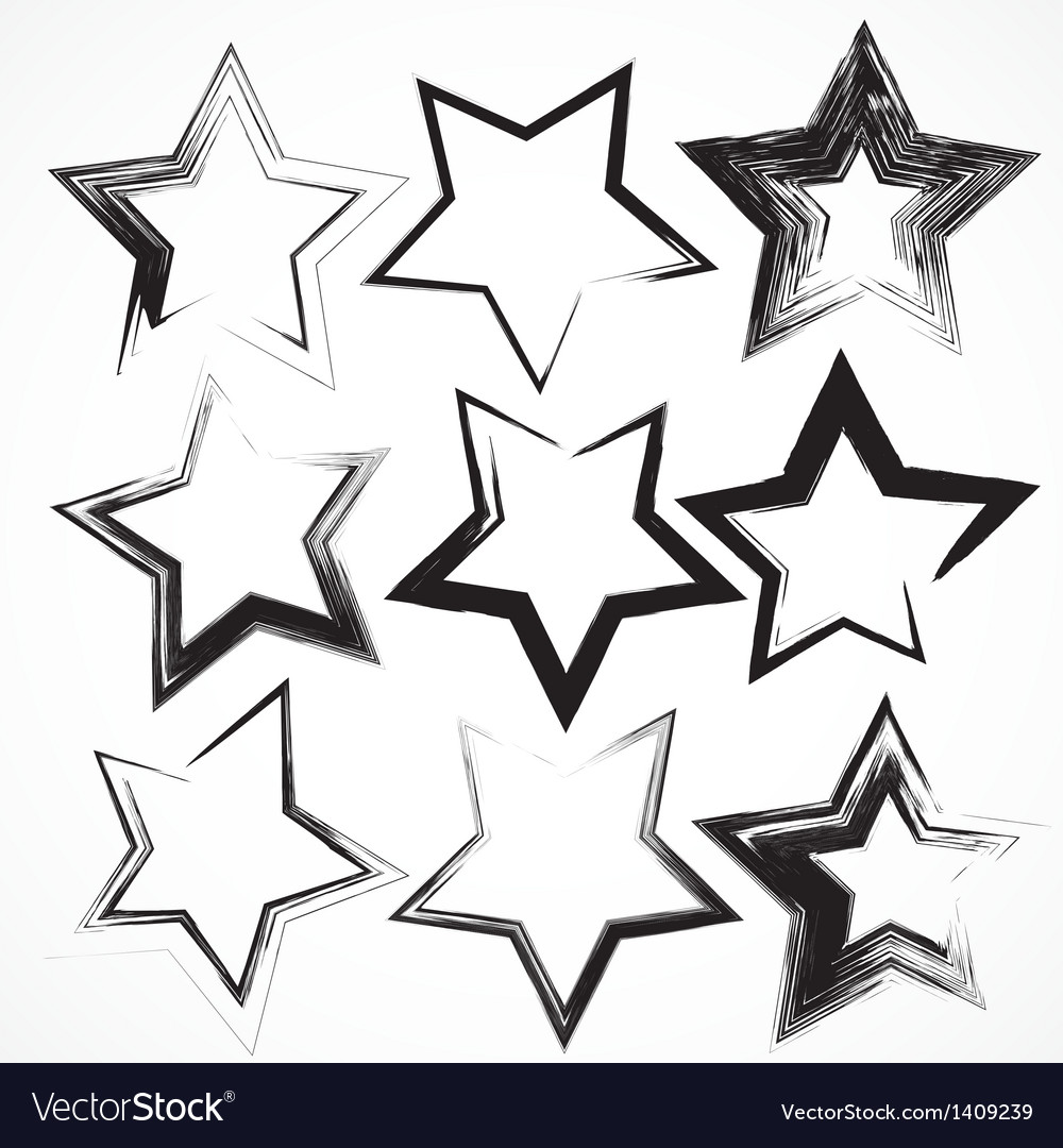 Set of grunge star brush strokes vector
