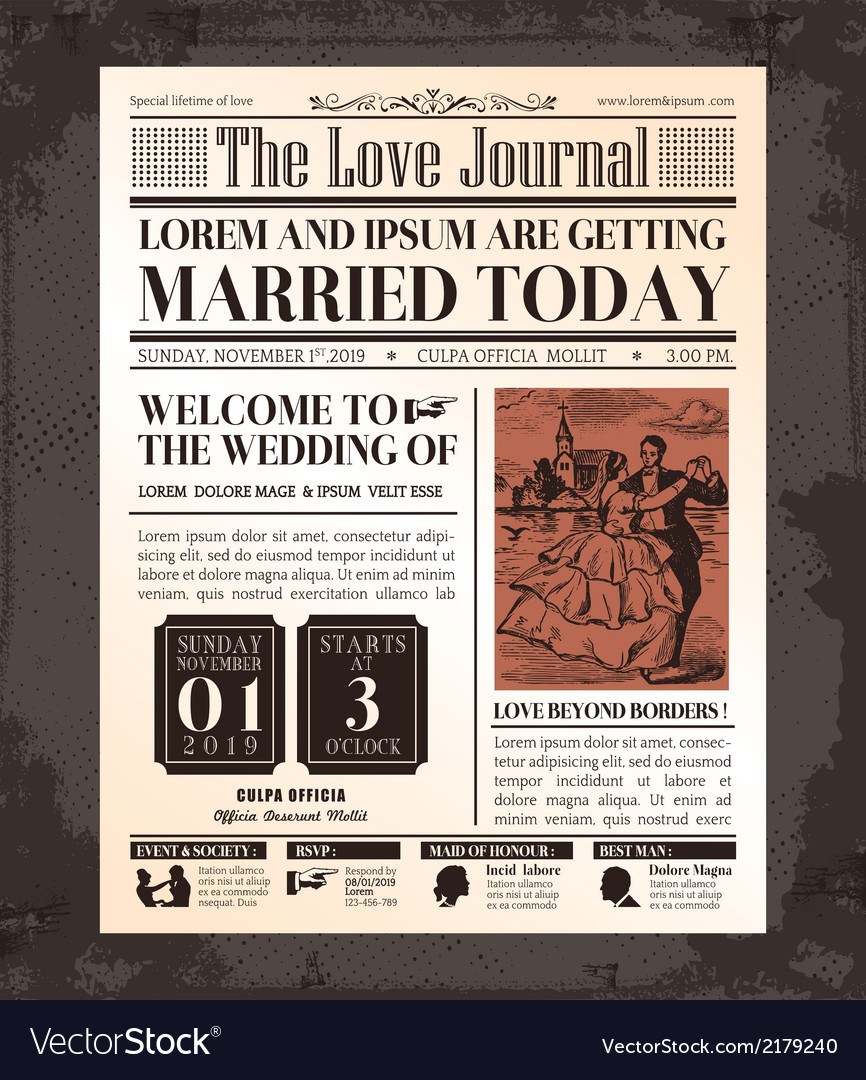 Vintage newspaper wedding invitation template vector