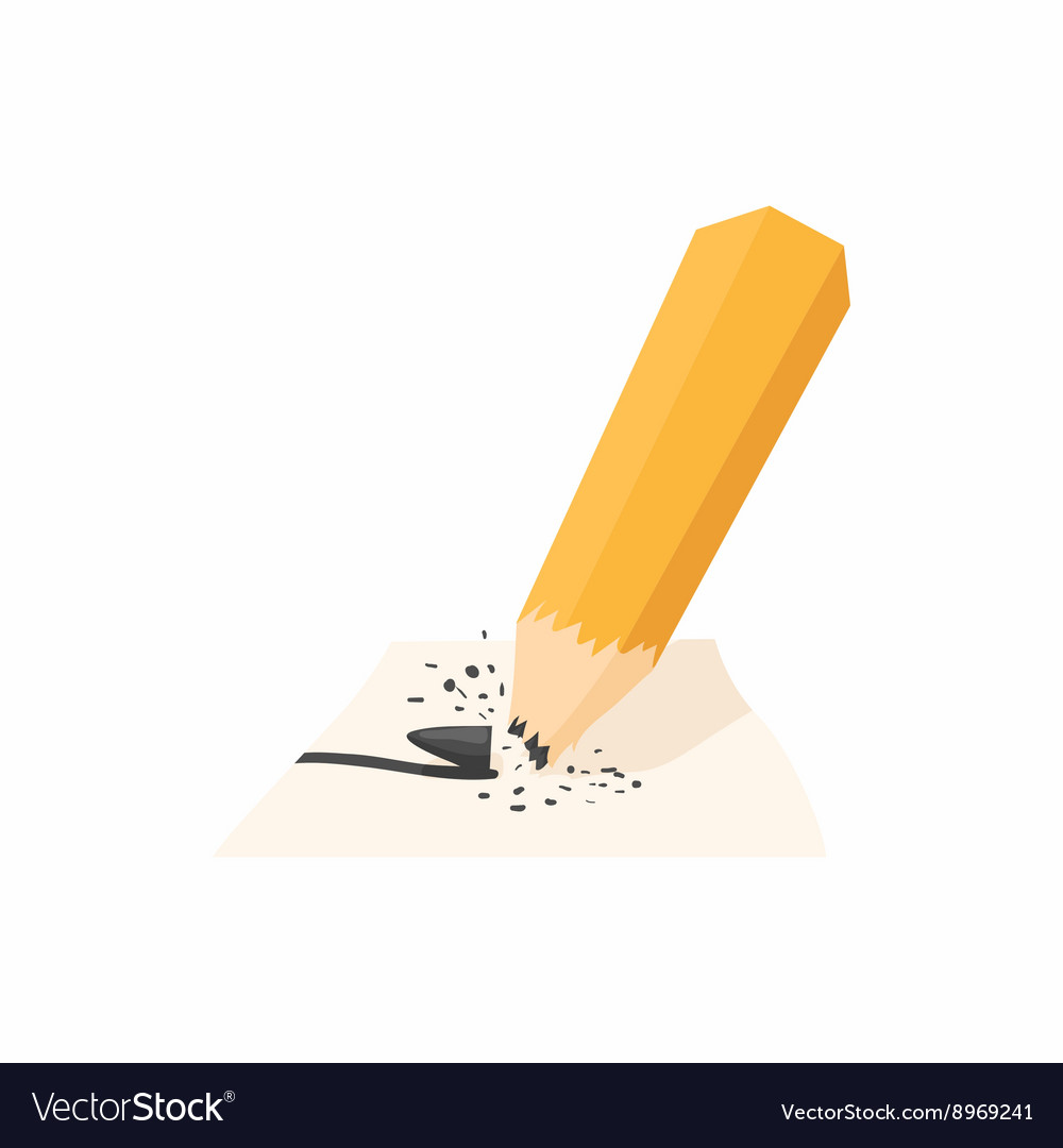 Pencil with a broken rod icon cartoon style vector