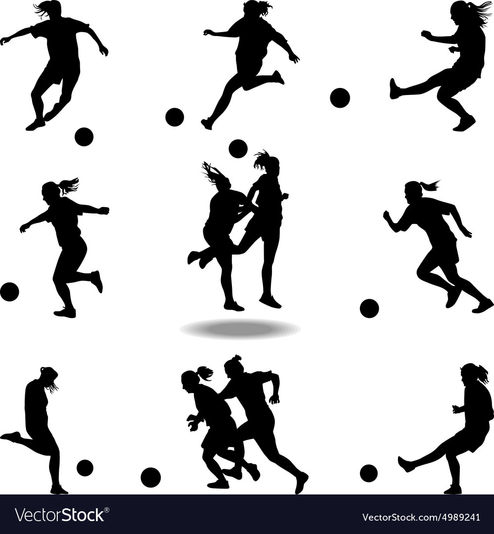 Woman soccer player vector
