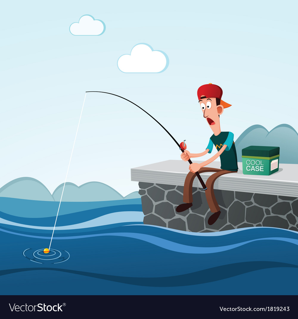 Fishing in the dock vector