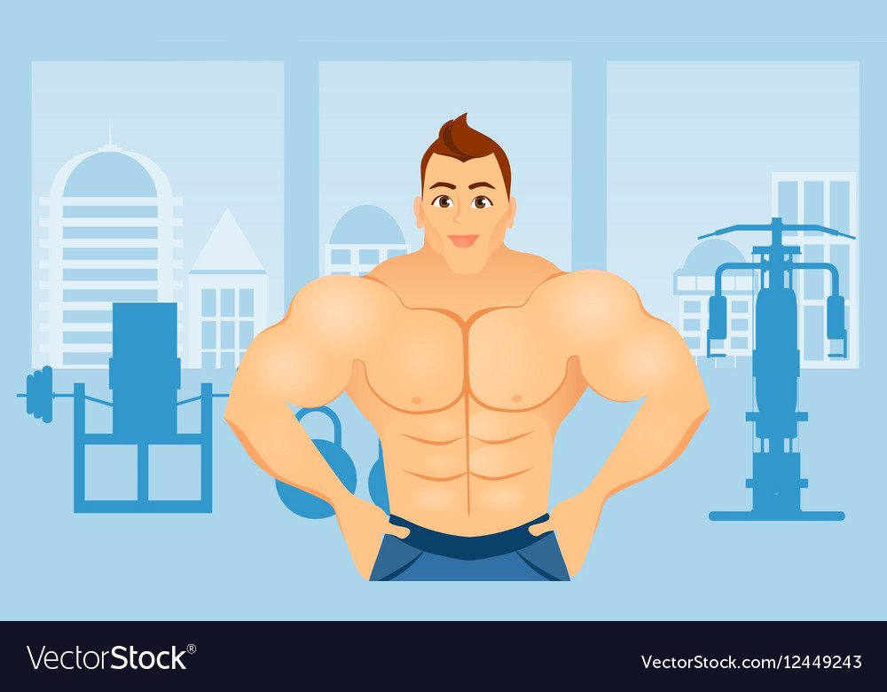 Fitness concept with sport bodybuilder man vector