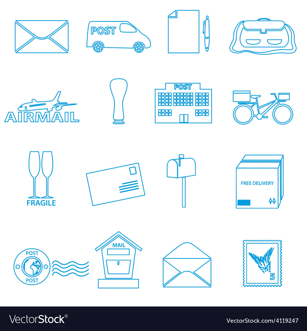 Post and mail blue outline icons set eps10 vector