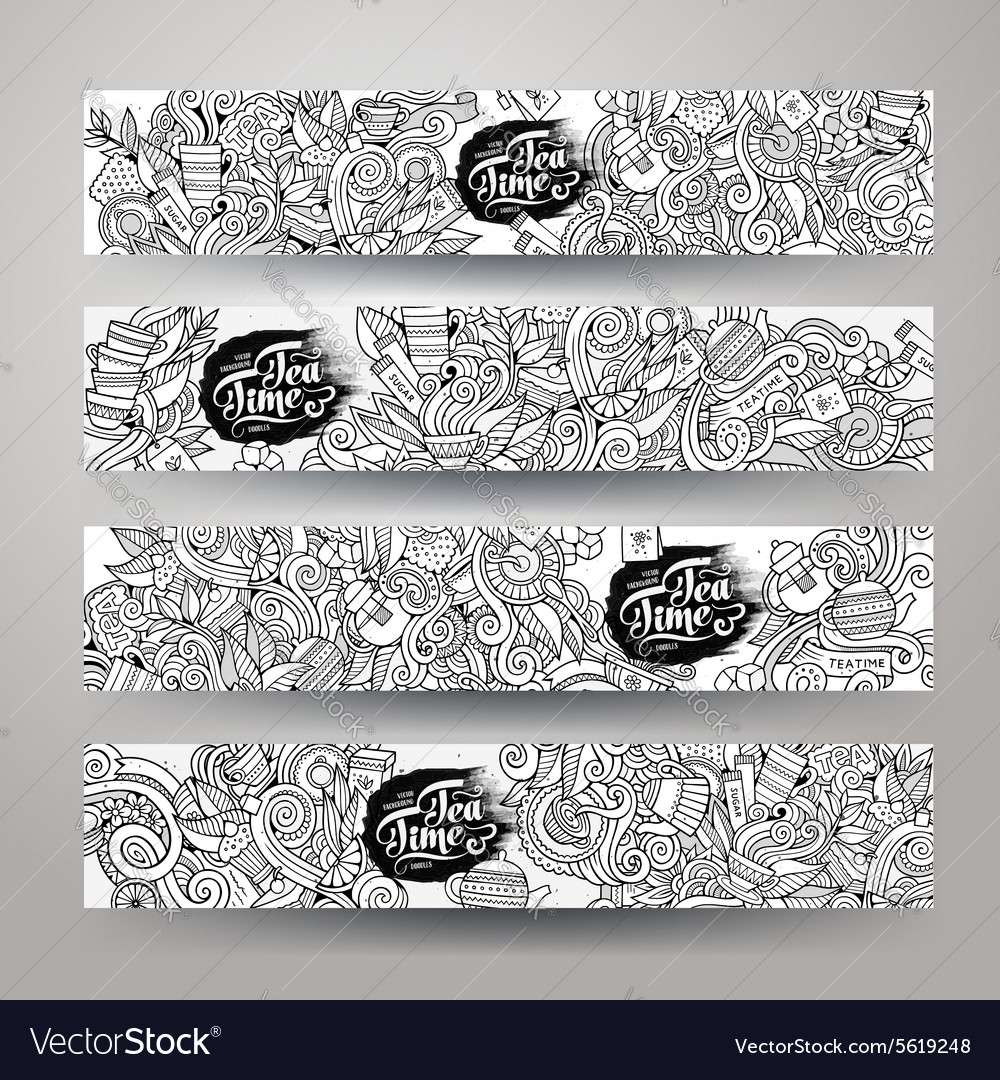 Doodles tea time design banners vector