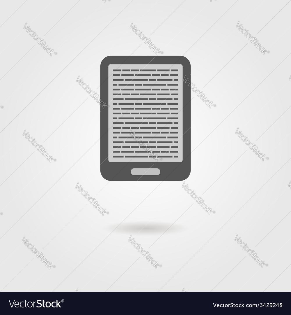 Ebook reader icon with shadow vector
