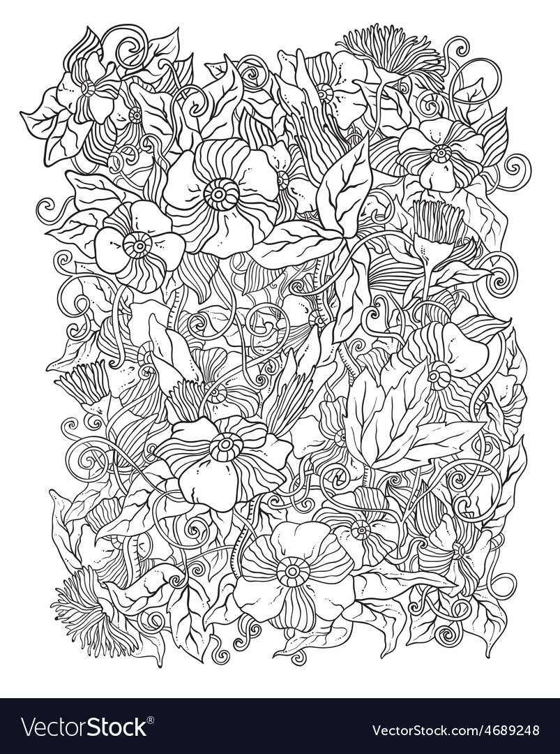 Floral background hand drawn retro flowers vector