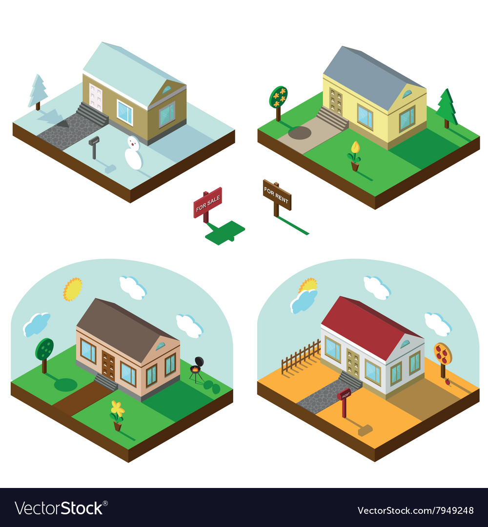 Isometric house set3d villageseasonal landscapes vector