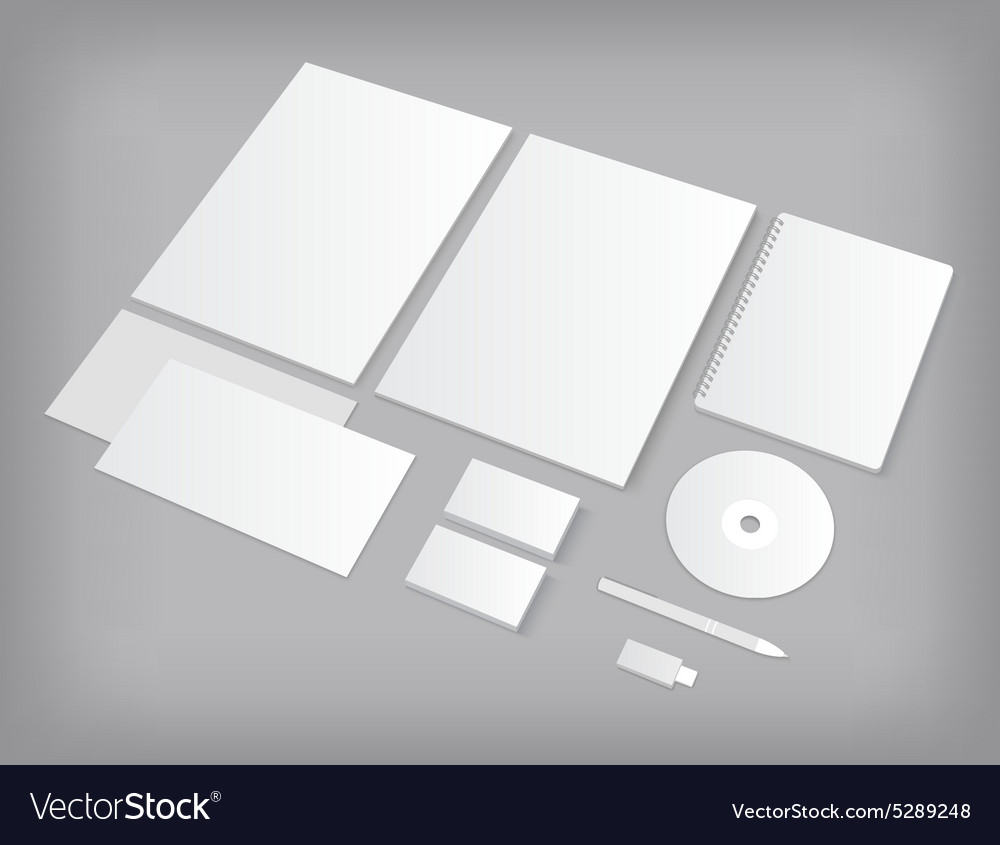 Set of ci templates mockup with business cards vector