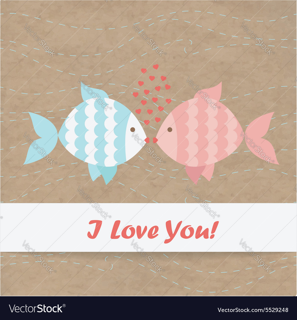 Valentine card fish kraft paper vector