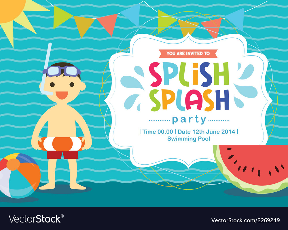 Birthday card invitation summer fun splash vector